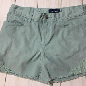 Old Navy Pastel Green Embellished Shorts Sz 14 Reg